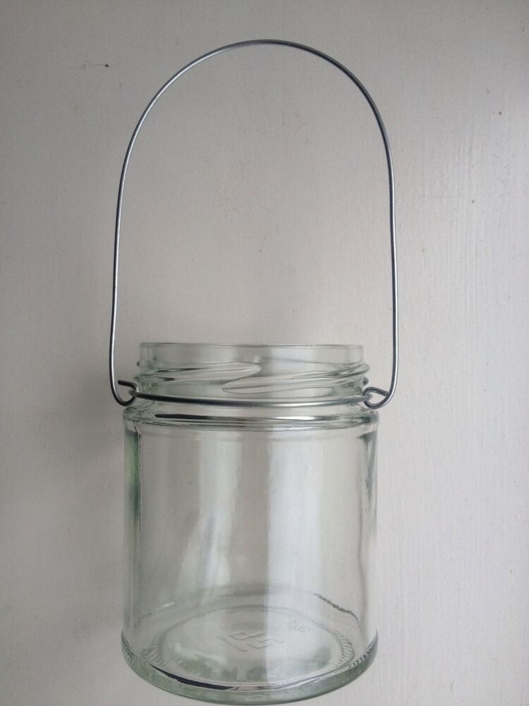 Hanging glass wire mason jar tea light candle holder for Wire candle lantern