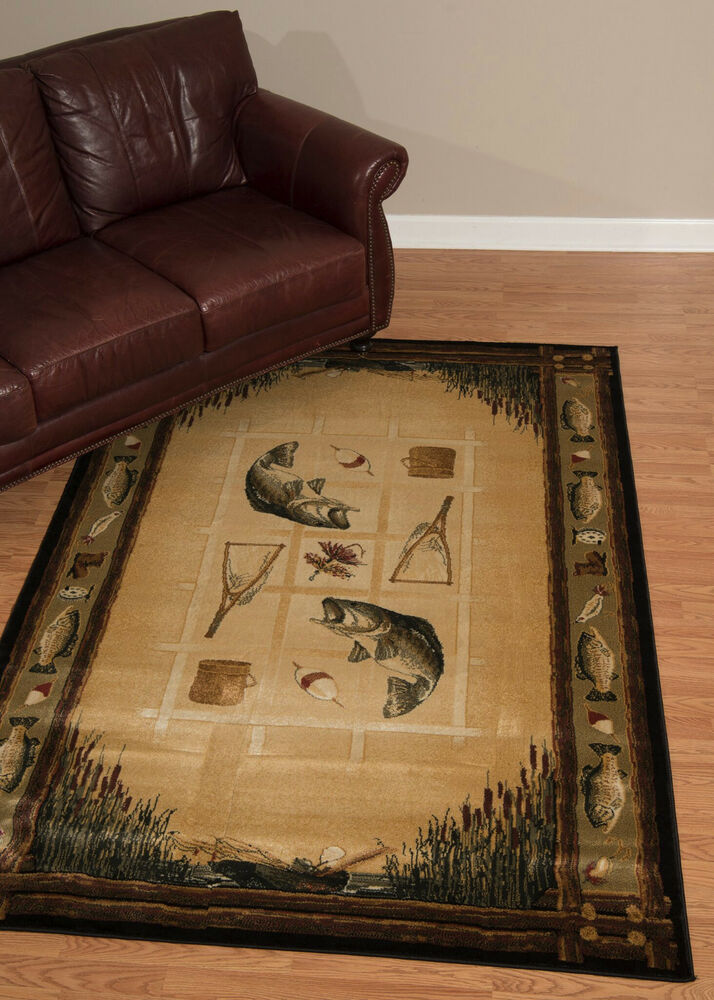 Lodge Cabin Lake Fish Fishing Bass Beige Decor Area Rug Ebay