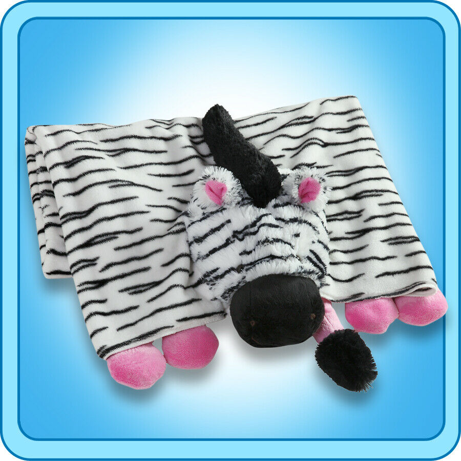 Authentic Pillow Pet Zippity Zebra Pink/White Blanket Plush Toy Gift eBay