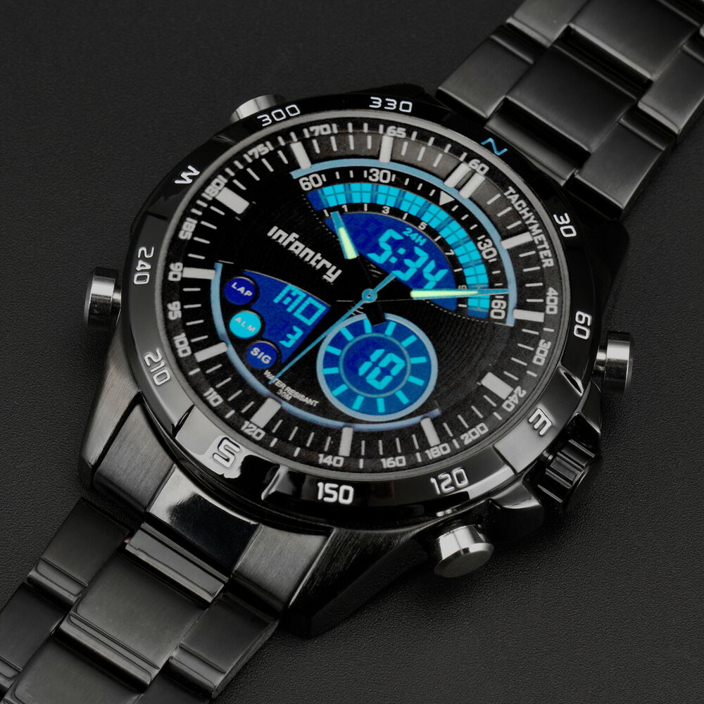 Infantry mens digital quartz wrist watch black sport chronograph stainless steel ebay for Watches digital