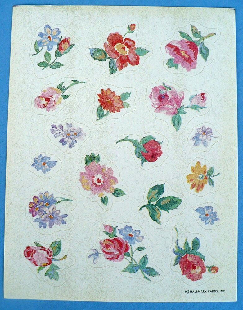 Vintage 1994 hallmark cool flowers 18 stickers 1 sheet ebay Hallmark flowers