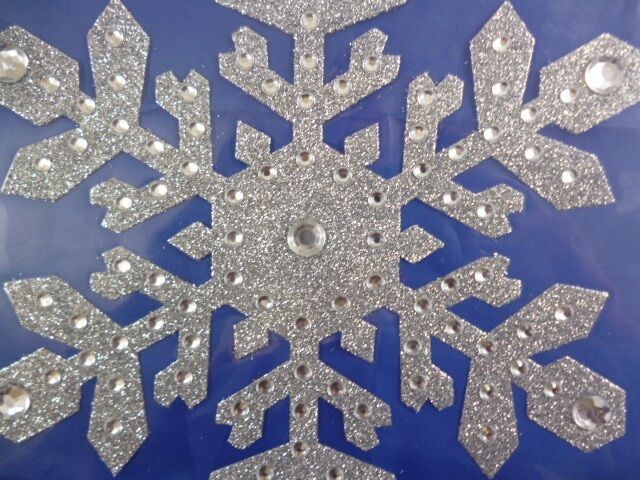 8 inch large silver snowflake window sticker christmas for Big snowflakes decorations