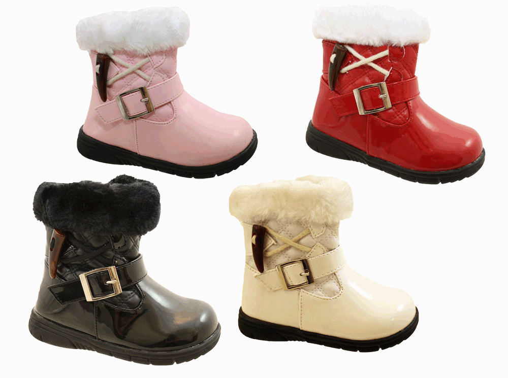 Infant Toddler Baby Little Girls Patent Fur Winter Ankle ...