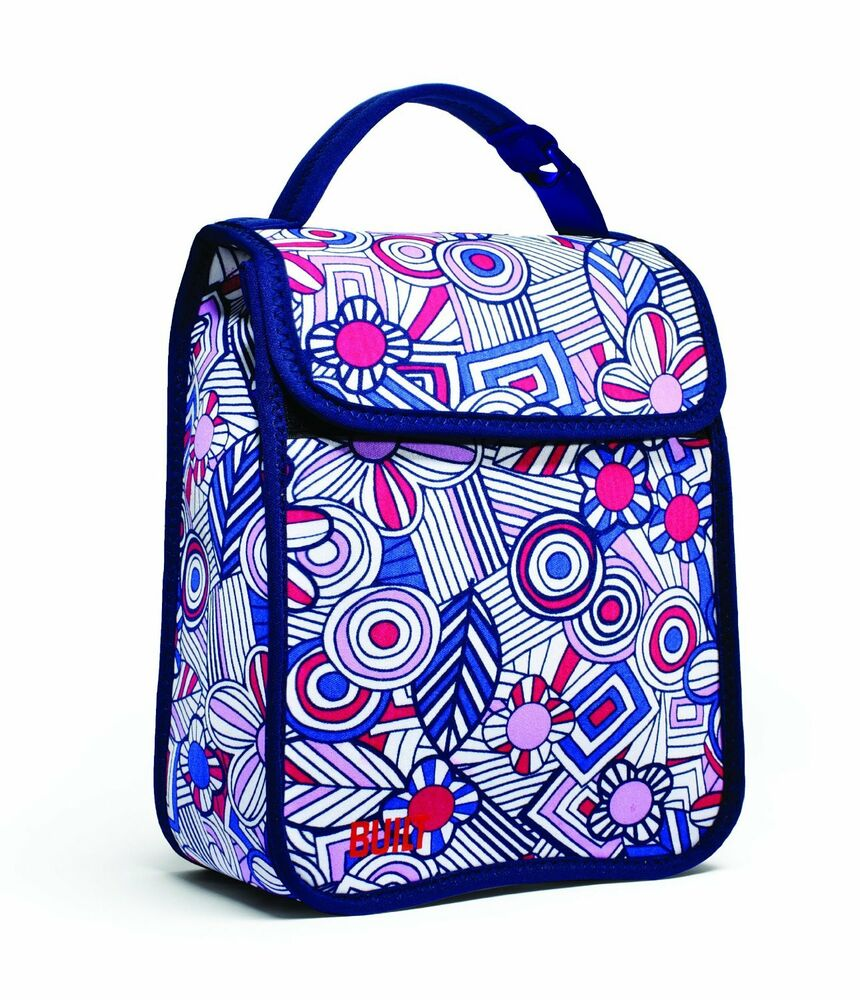 Built NY Girls Insulated Fun School Lunch Sack Box Bag Blue Mosaic Flower Floral | EBay