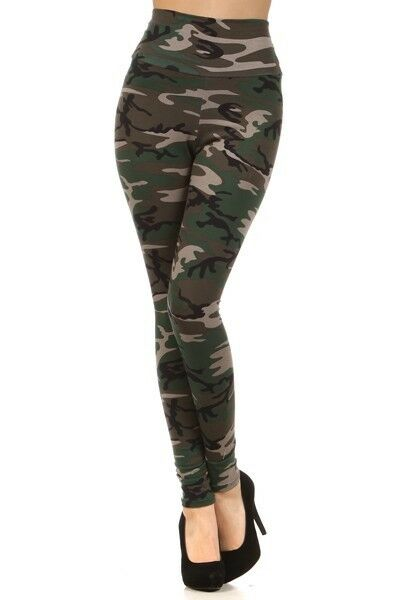 Womens CAMO High Waist Military Army Print Fashion Trend Leggings S M L | eBay