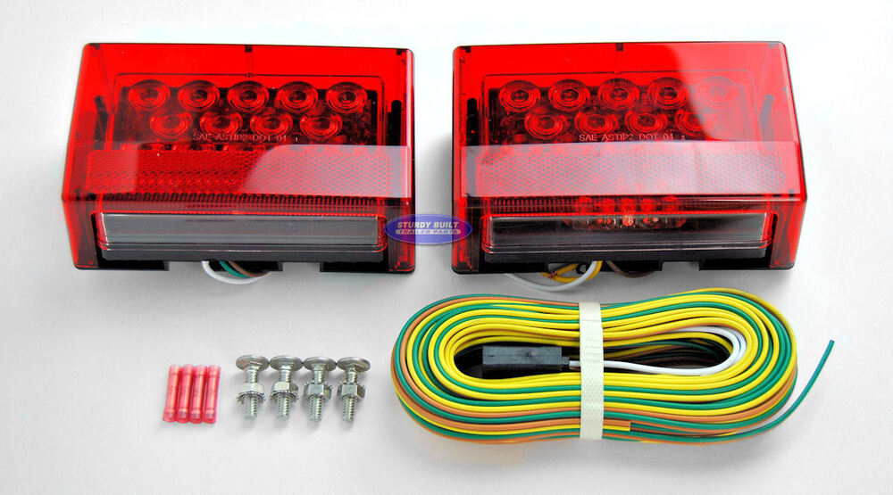 boat trailer sealed led submersible light kit w 25 wiring harness and hardware ebay