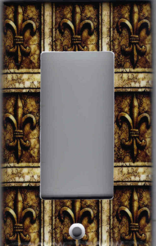 FLEUR DE LIS BROWN STONE PRINT HOME DECOR GFI OUTLET ROCKER LIGHT SWITCH PLAT