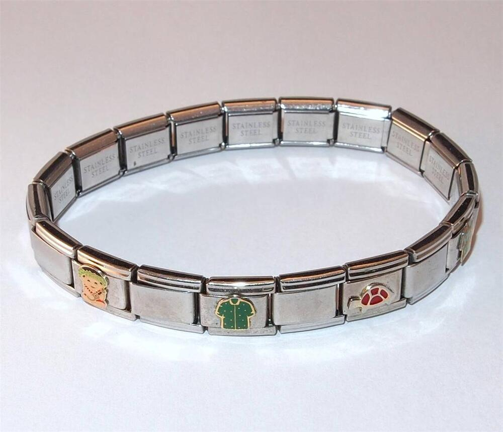 Stainless Steel Bracelet Charms: SIGNED D'LINQ SEGMENT SLIDE CHARM BRACELET STAINLESS STEEL