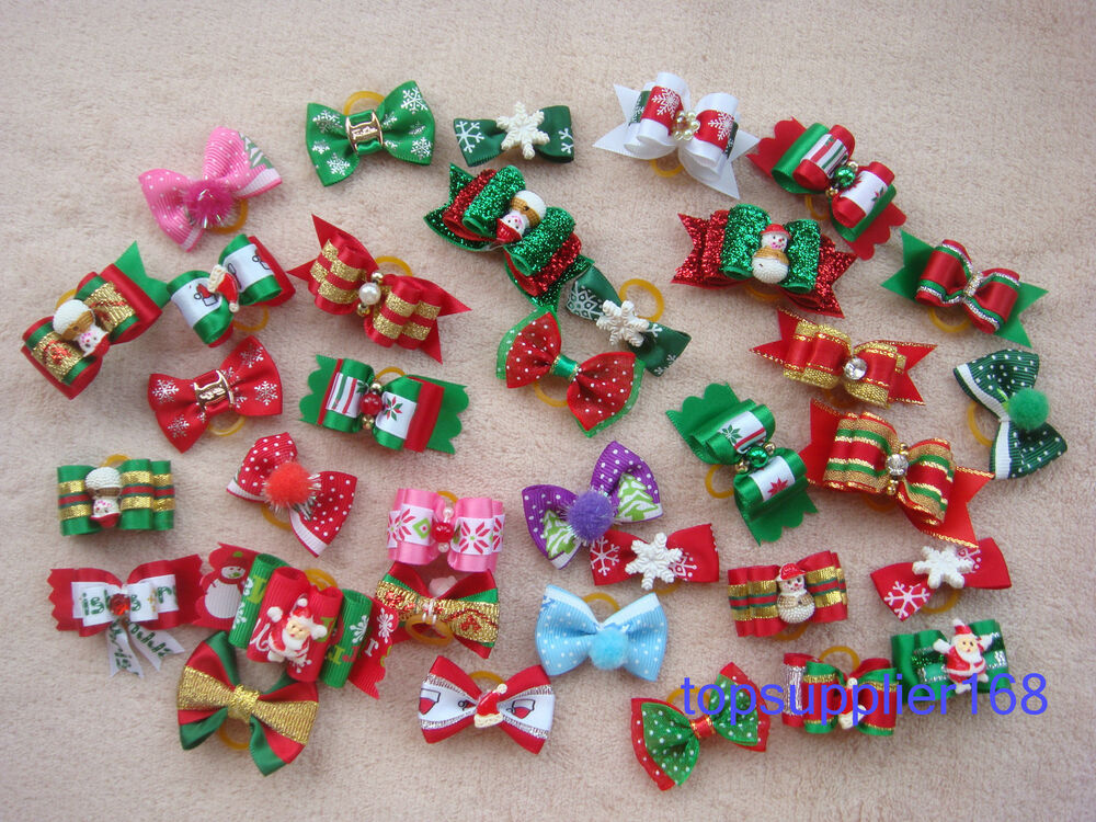 Handmade Dog grooming hair bows cat puppy pets Christmas ...