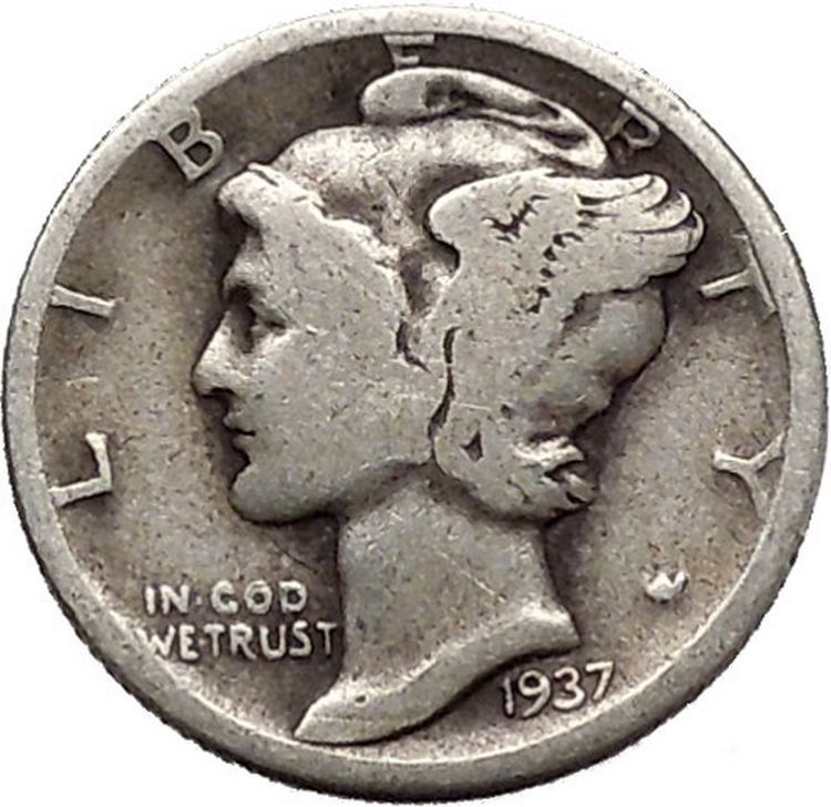 Mercury Winged Liberty Head 1937 Dime United States Silver Coin