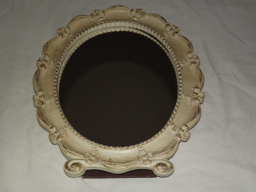 Vintage Old Made In Usa Syroco Wood Oval Table Mirror Ebay