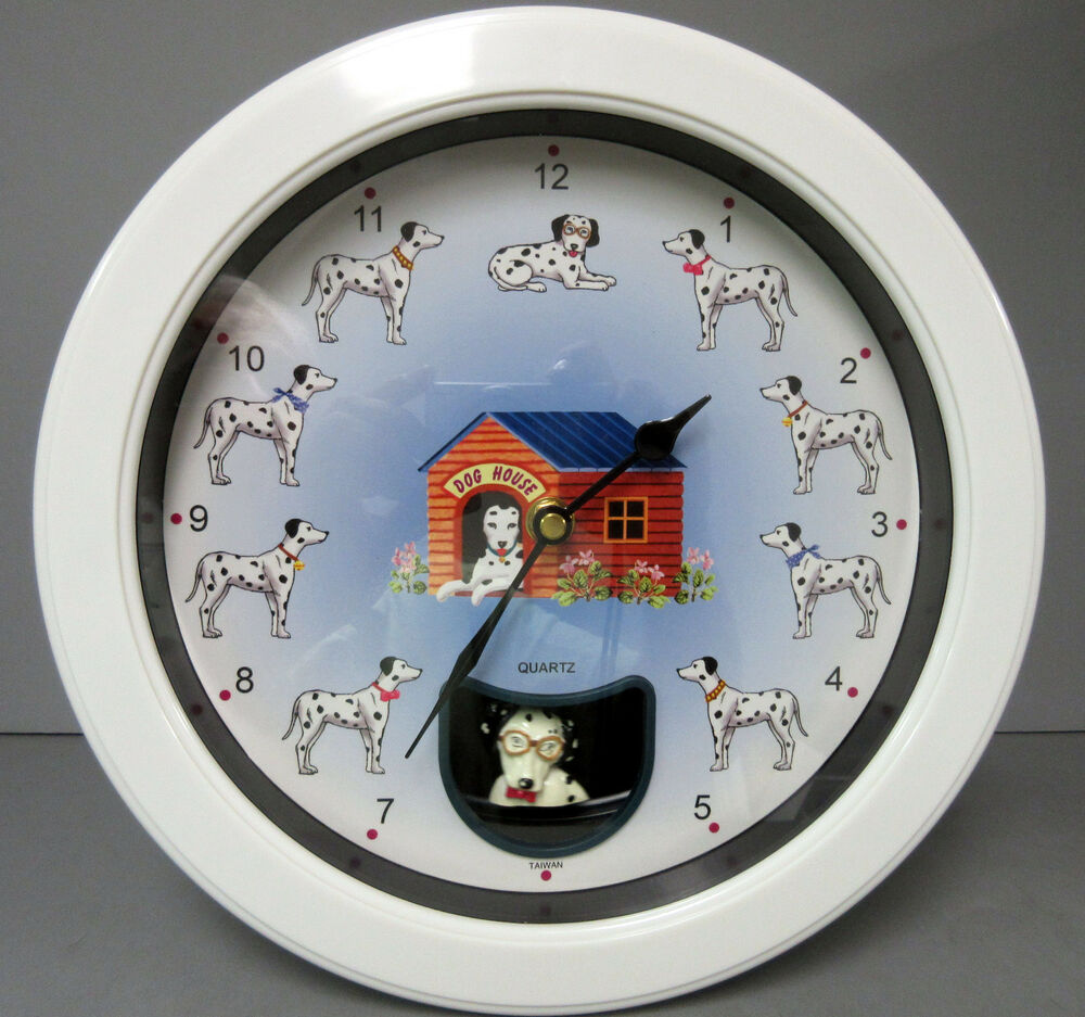 New Dogs Pendulum Brown Kitchen 3d Round Wall Clock
