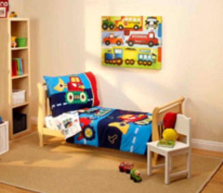 4pc Construction Trucks Toddler Bed In A Bag Comforter