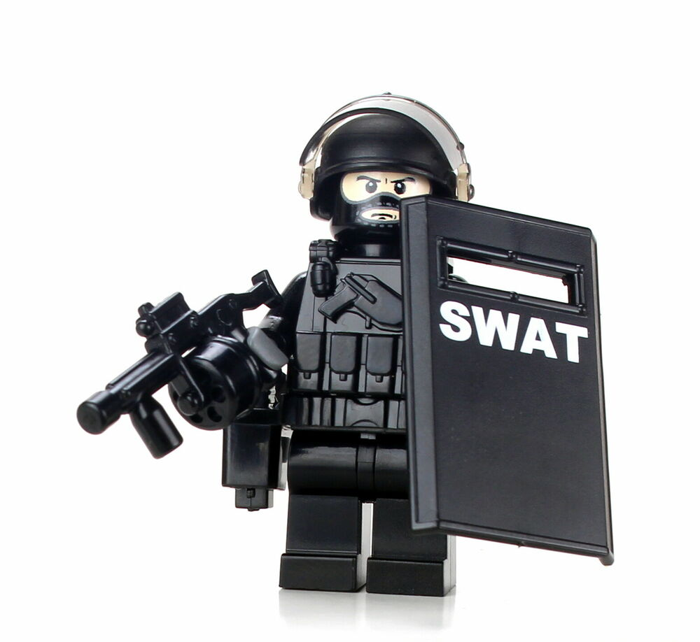 swat riot control police officer minifigure  sku51 made