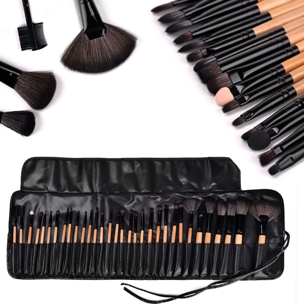 32tlg schwarz professionelle kosmetik pinsel set make up brush kit schminkpinsel ebay. Black Bedroom Furniture Sets. Home Design Ideas