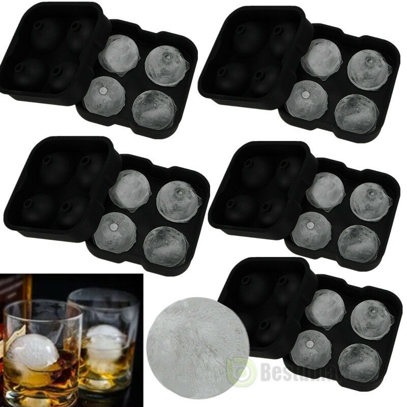 5x new round ice balls maker tray four large sphere molds cube whiskey cocktails ebay. Black Bedroom Furniture Sets. Home Design Ideas