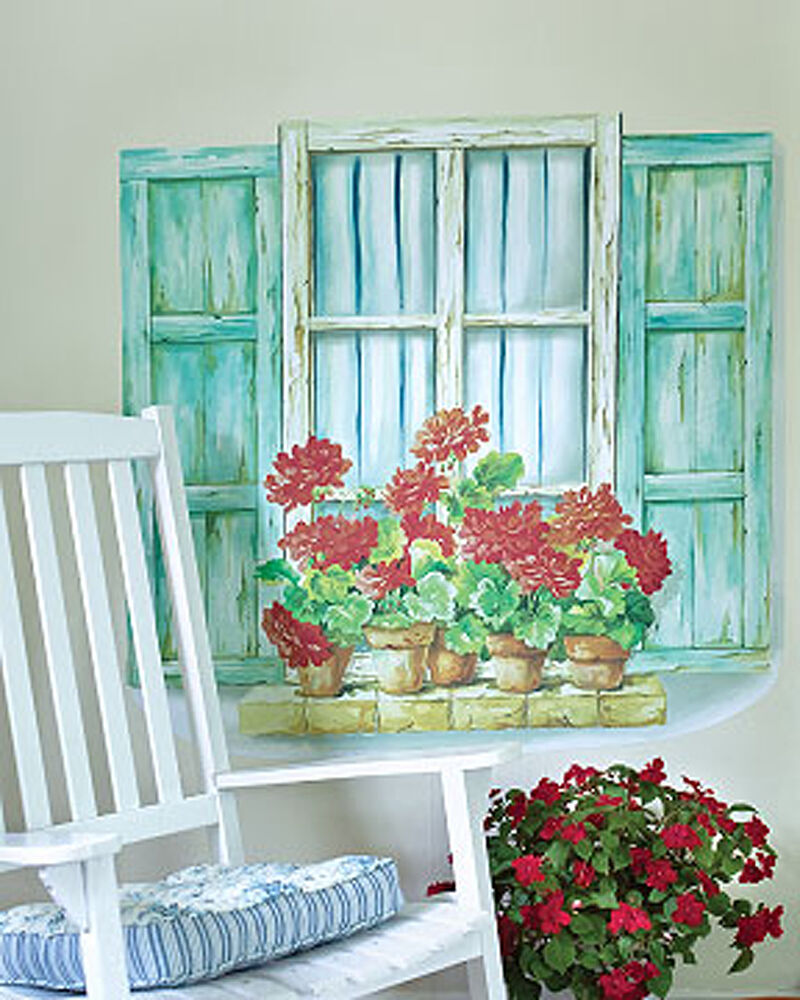 Shabby Window Wall Mural Shutters Flowers Chic Decals ...