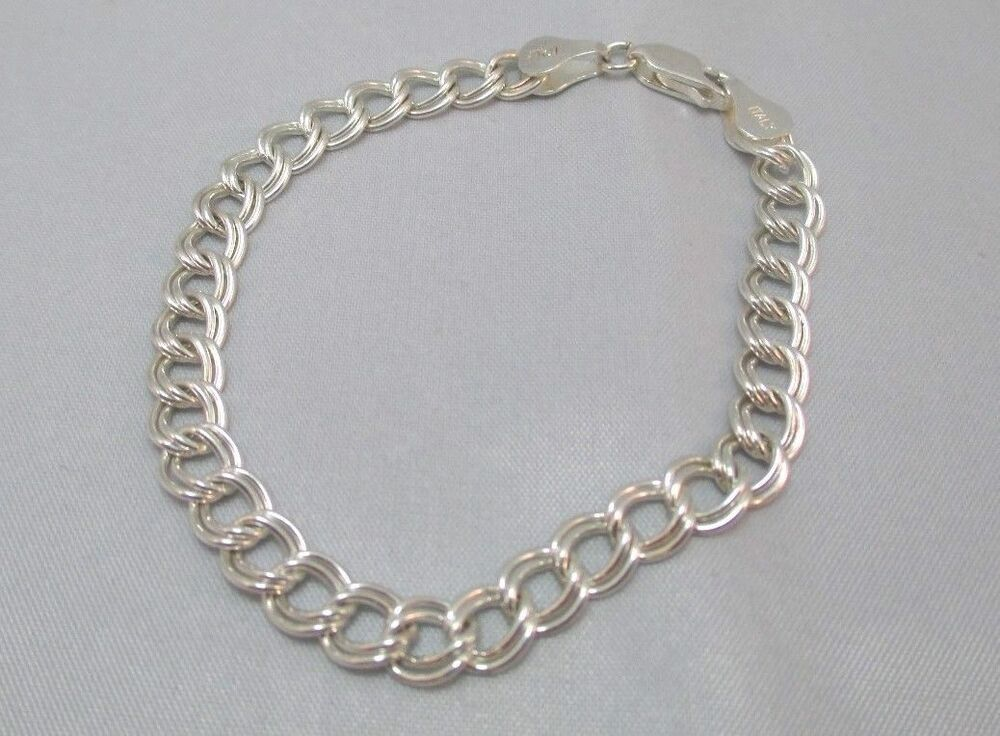 sterling silver italy chain link charm bracelet