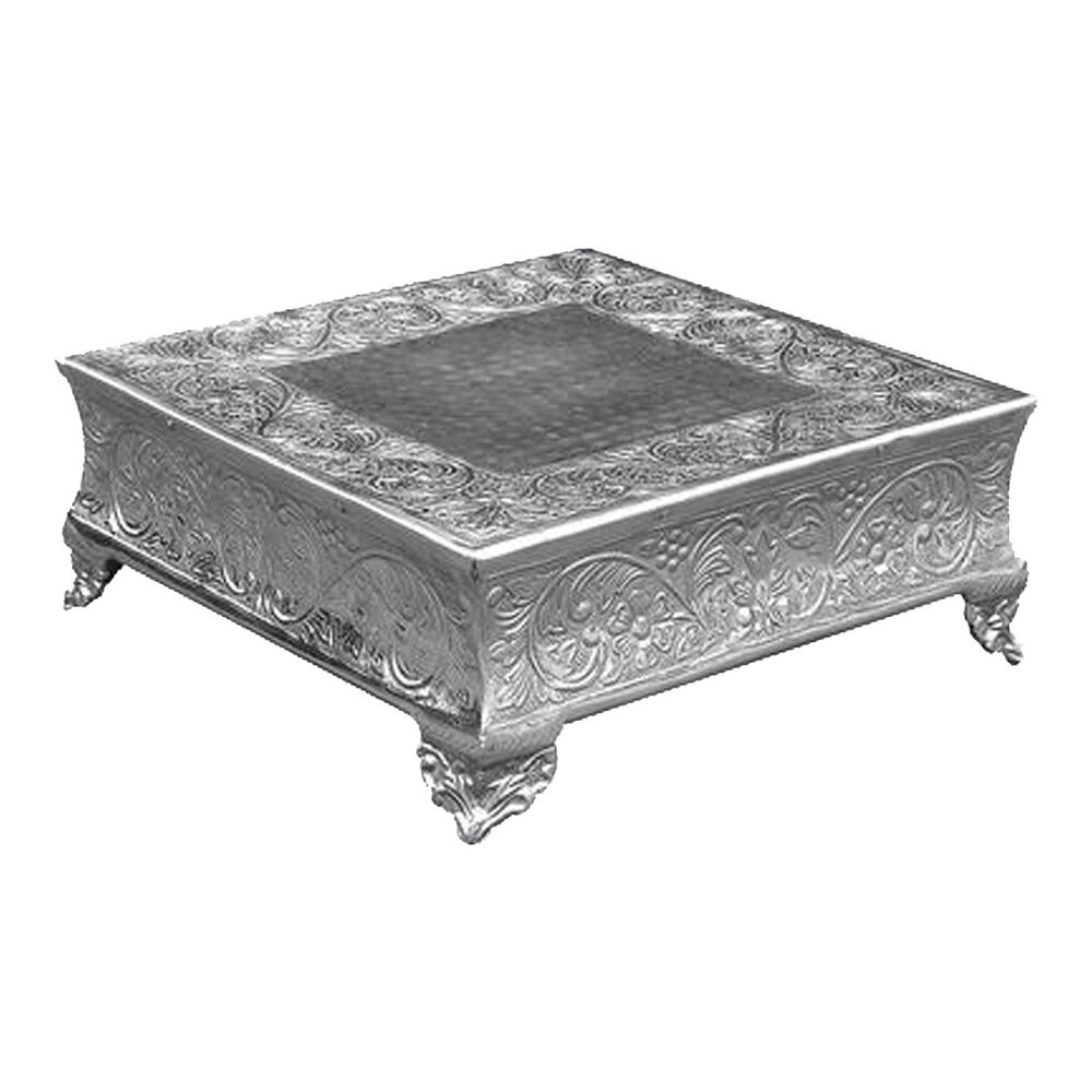 """GiftBay Wedding Cake Stand Square 14"""" Silver Strongly"""