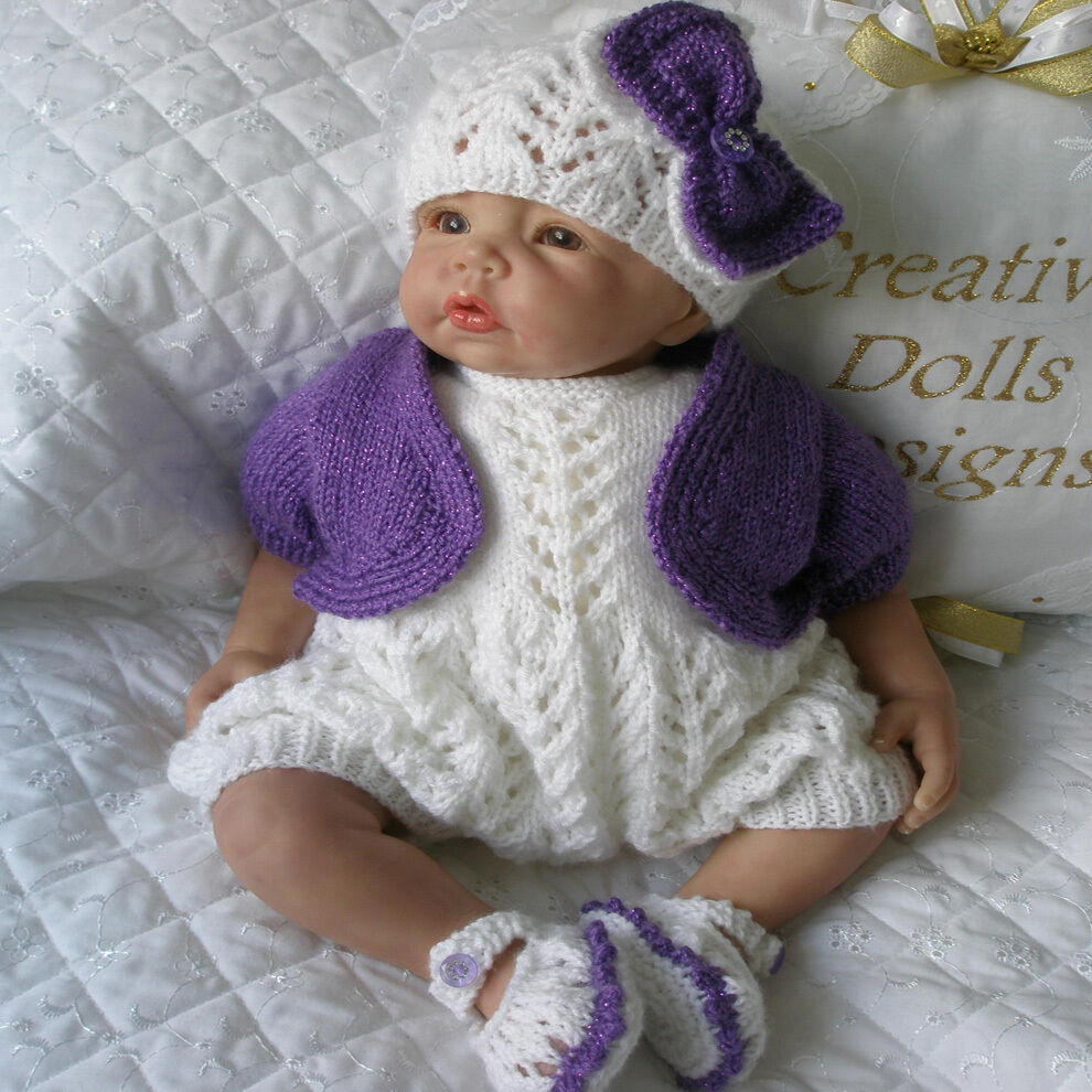 Free Knitting Patterns Baby Annabell Clothes : Creative Dolls Designs Knitting Pattern Romper Set for 17-22