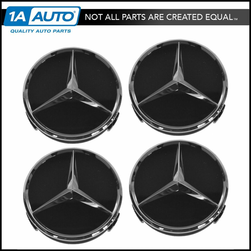 Oem raised chrome black wheel center cap set of 4 for for Mercedes benz wheel
