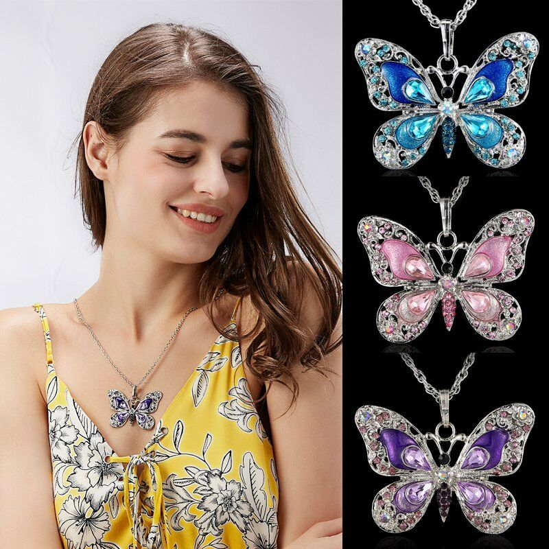 Antique Silver Butterfly Colorful Crystal Pendant Choker Sweater Necklace Chain Ebay