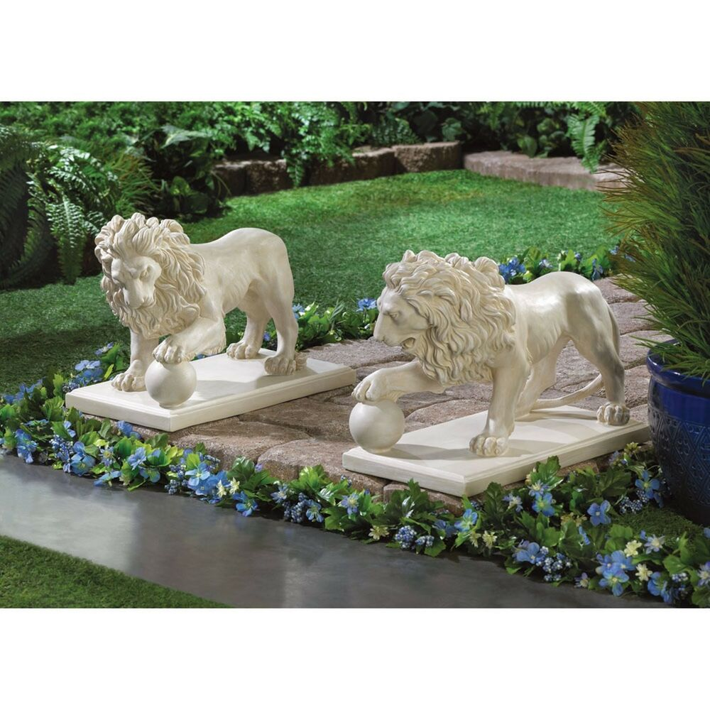 Pair of regal lion statues yard garden decor ebay for Garden ornaments and accessories