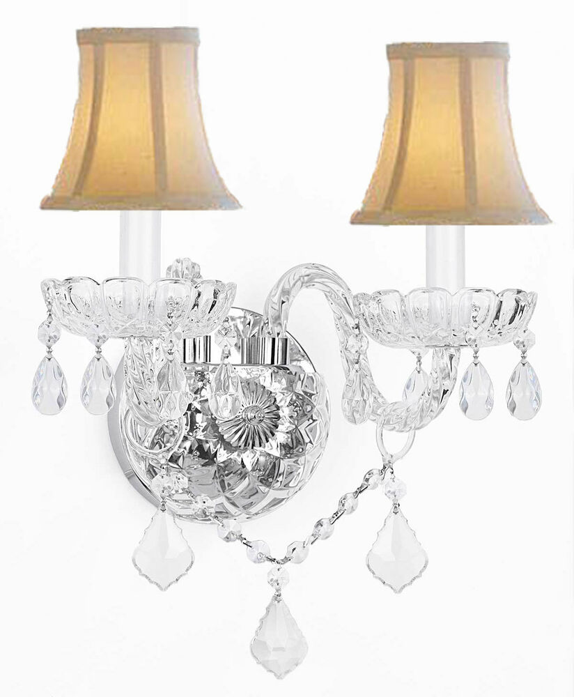 Wall Sconces With Shades And Crystals : MURANO VENETIAN STYLE CRYSTAL WALL SCONCE LIGHTING WITH WHITE SHADES! eBay