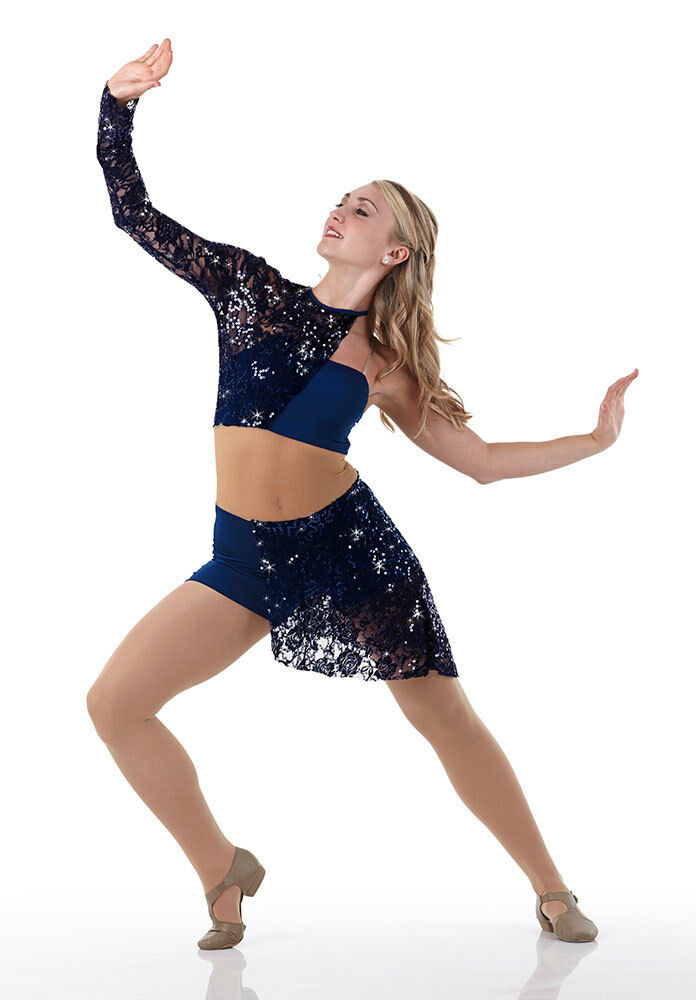 Contemporary Lyrical Dress Costume Dance Navy Lace Sequin