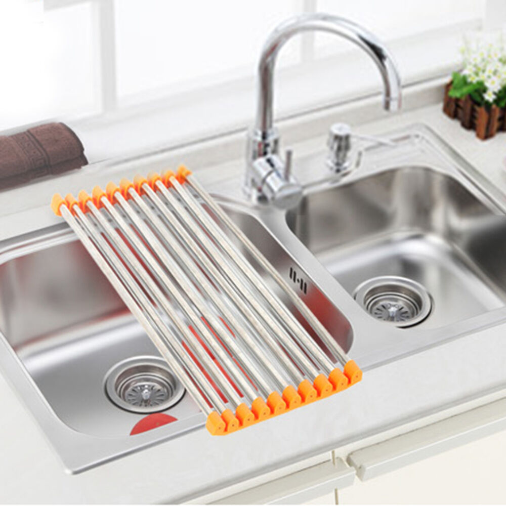 Sink Rack Roll Stainless Steel Silicon Handy and Portable