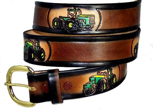 Farm Machinery Belts : Farm tractor mens jd deere casual western solid leather belt buckle usa made ebay
