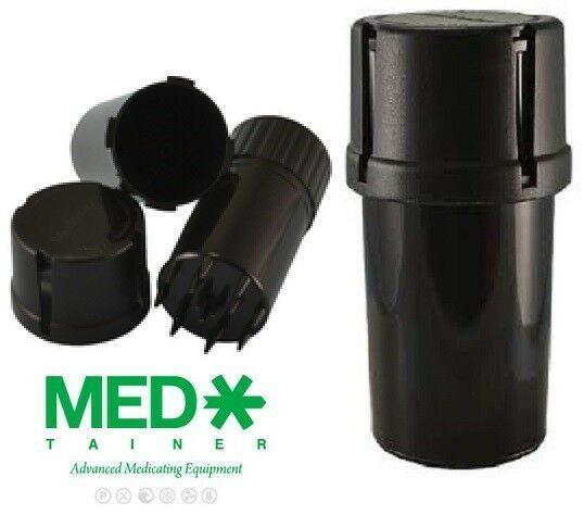 Two Of Black Medtainer Storage Containers W Built In