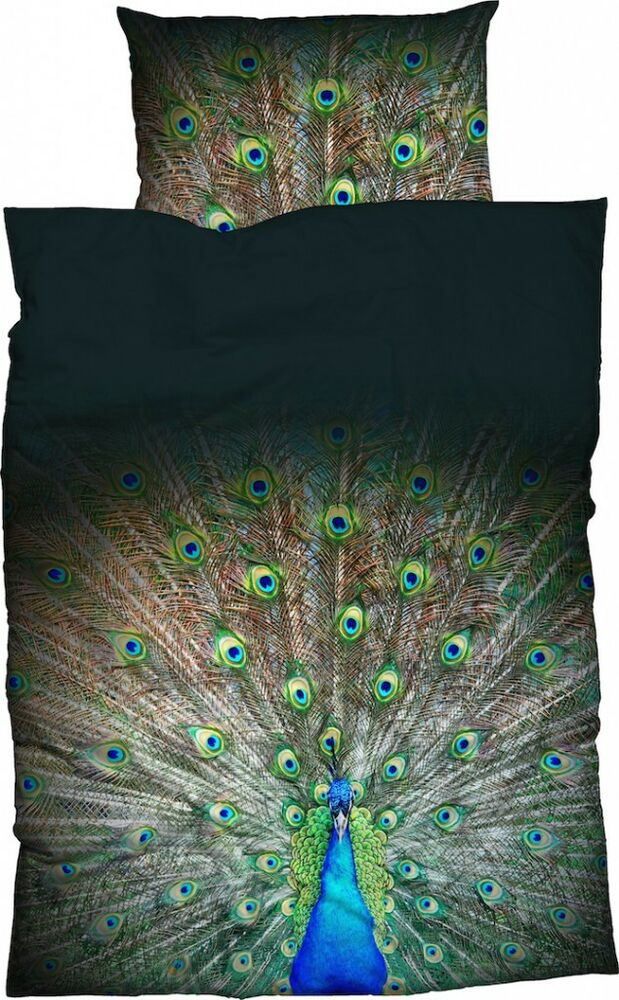 casatex bettw sche peacock satin pfau pfauenfedern federn vogel schwarz gr n ebay. Black Bedroom Furniture Sets. Home Design Ideas