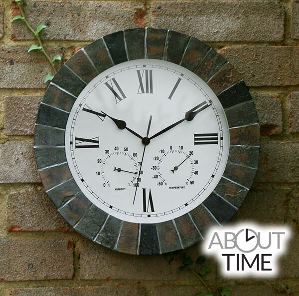 Slate Rustic Effect Garden Wall Clock Indoor Humidity ...