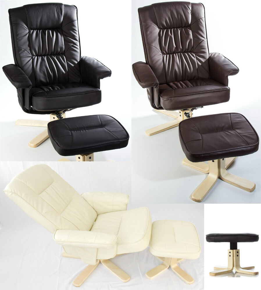 Luxury Pu Leather Swivel Recliner Armchair Lounger
