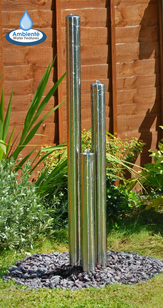 3 tube silver water feature fountain cascade contemporary Garden tube