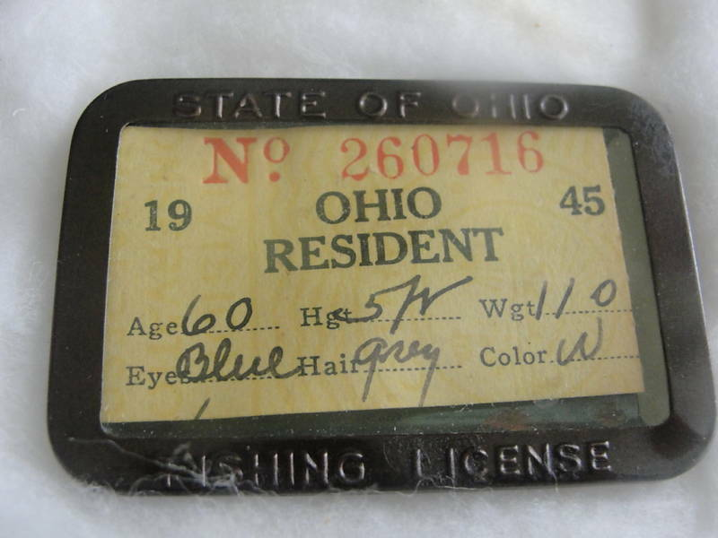 1945 ohio resident fishing license in metal holder ebay for Ohio state fishing license
