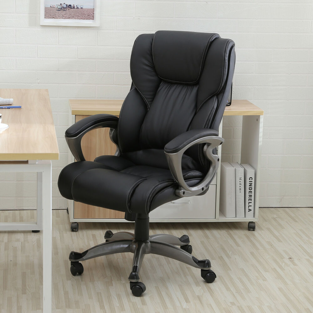Black PU Leather High Back Office Chair Executive Task Ergonomic Computer Des