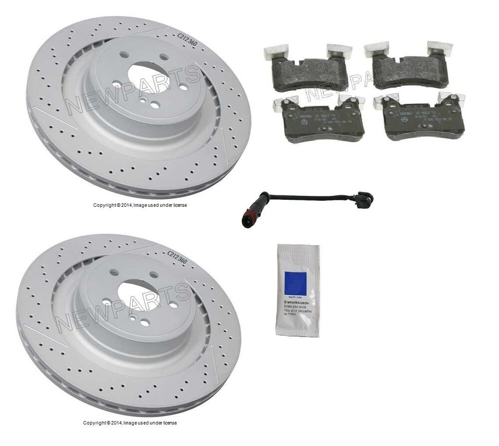 Mercedes w212 e63 amg 10 13 kit rear brake rotors with for Mercedes benz e350 brake pads replacement