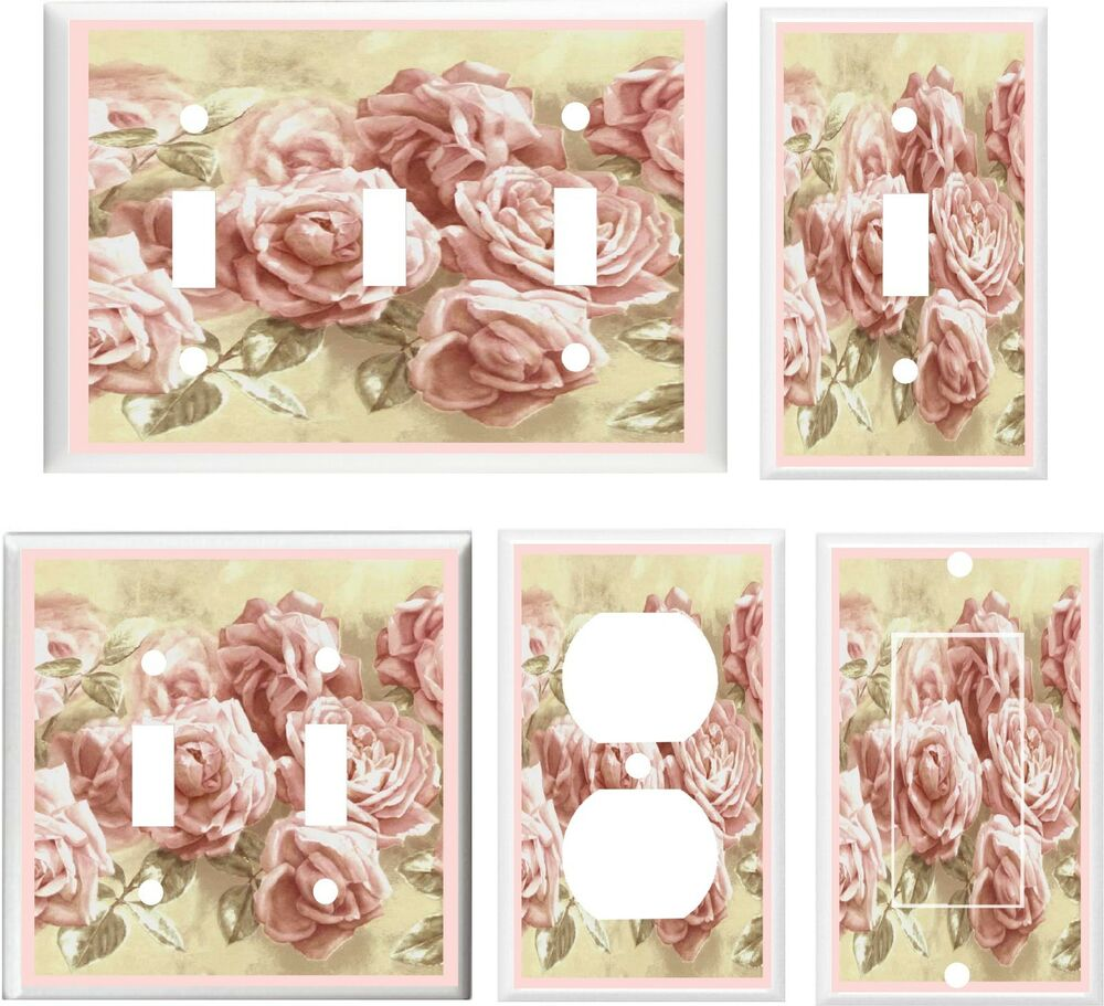 Pink Victorian Roses Image 2 Light Switch Cover Plate