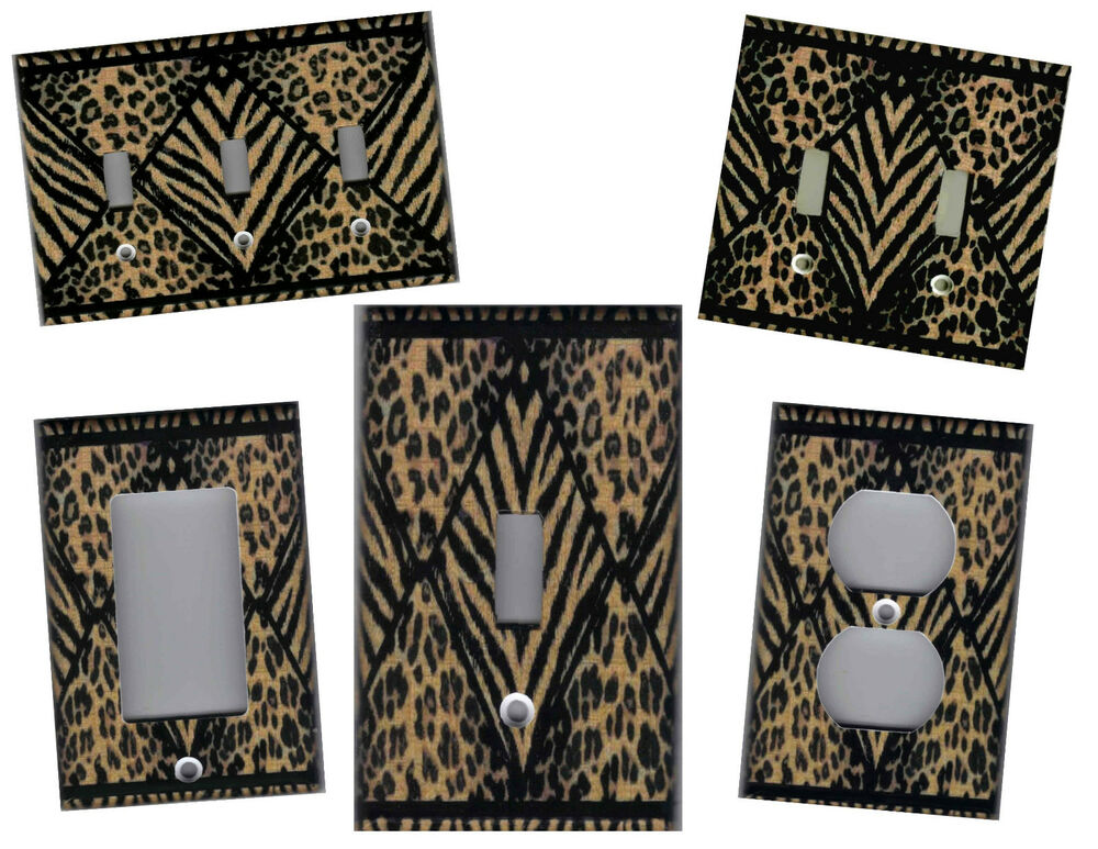 leopard and tiger print home wall decor light switch plate