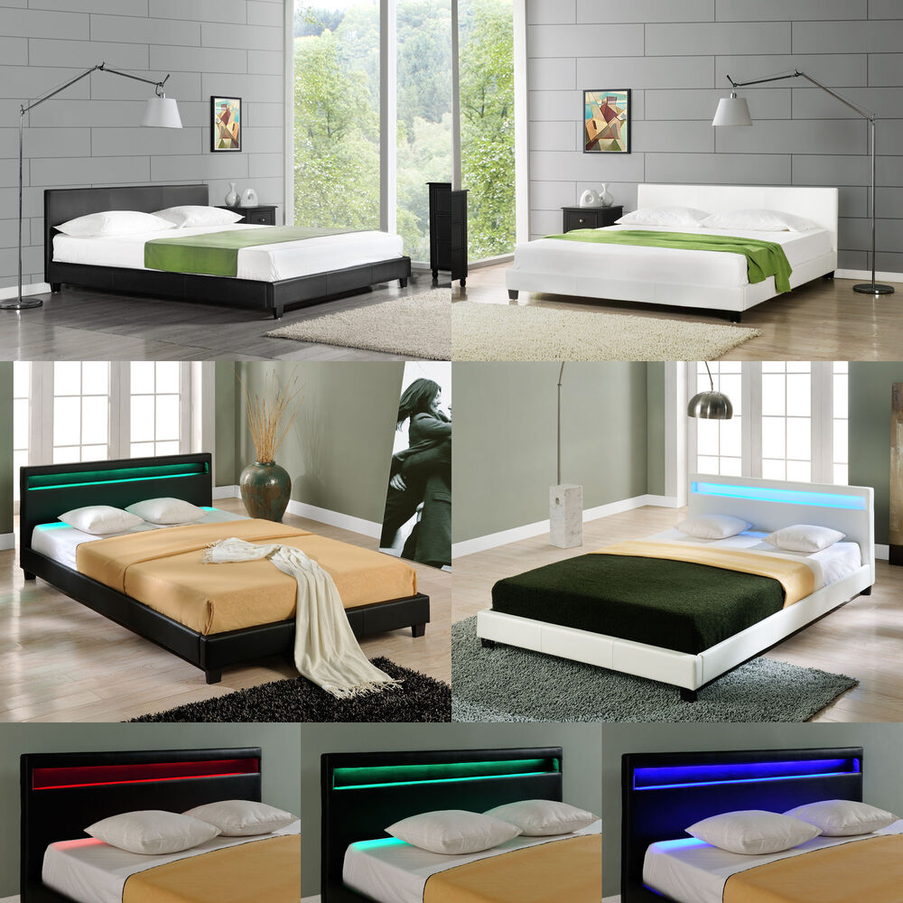 corium led polsterbett 140 160 180 200x200cm bett doppelbett kunst leder ebay. Black Bedroom Furniture Sets. Home Design Ideas