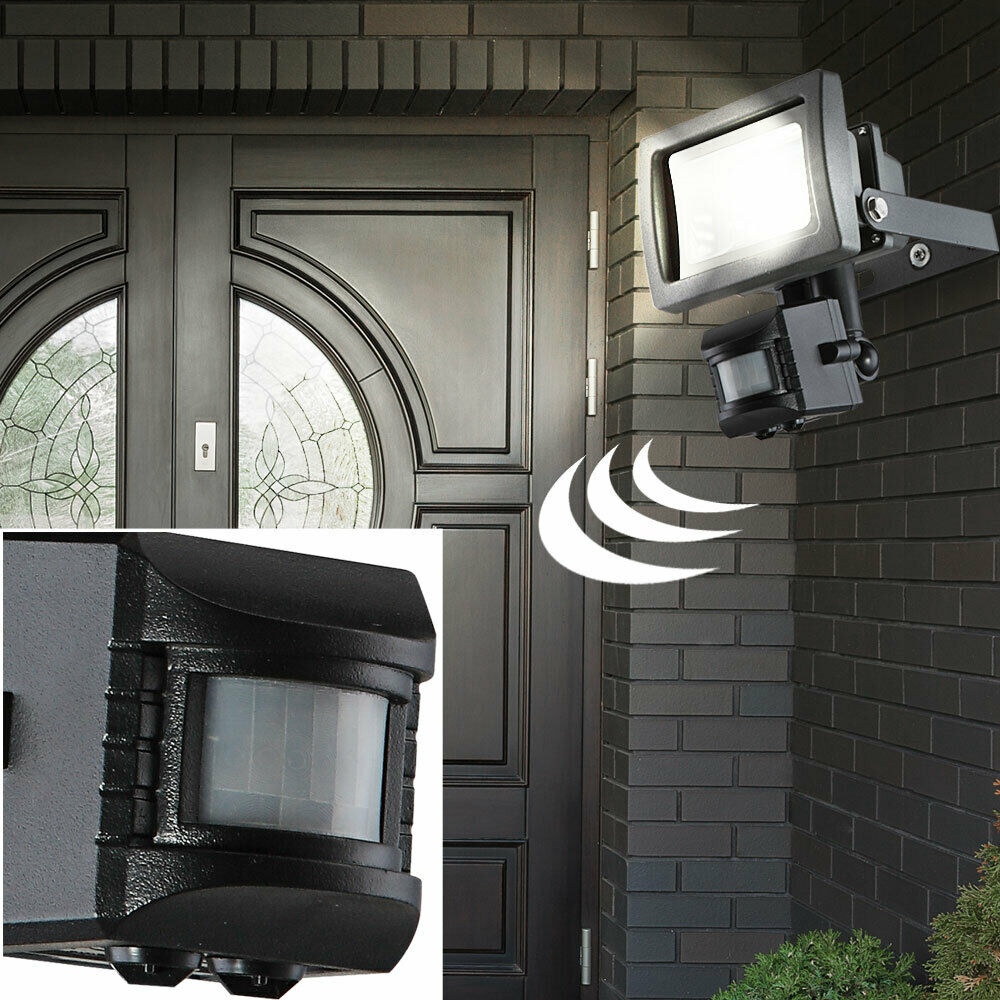 10w led au en garten bau weg haus wand strahler lampe leuchte bewegungsmelder ebay. Black Bedroom Furniture Sets. Home Design Ideas