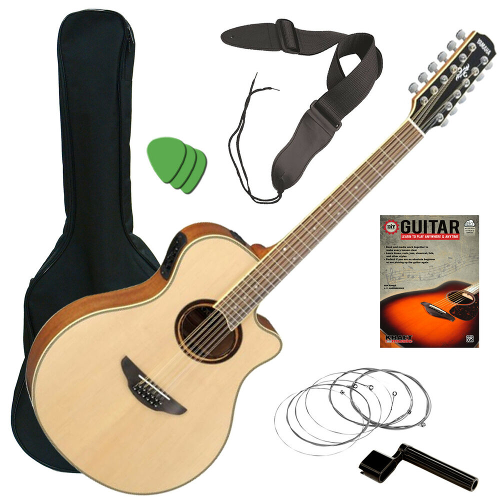 Essential Accessories For Electric Guitar : yamaha apx700ii 12 acoustic electric guitar natural guitar essentials bundle ebay ~ Hamham.info Haus und Dekorationen