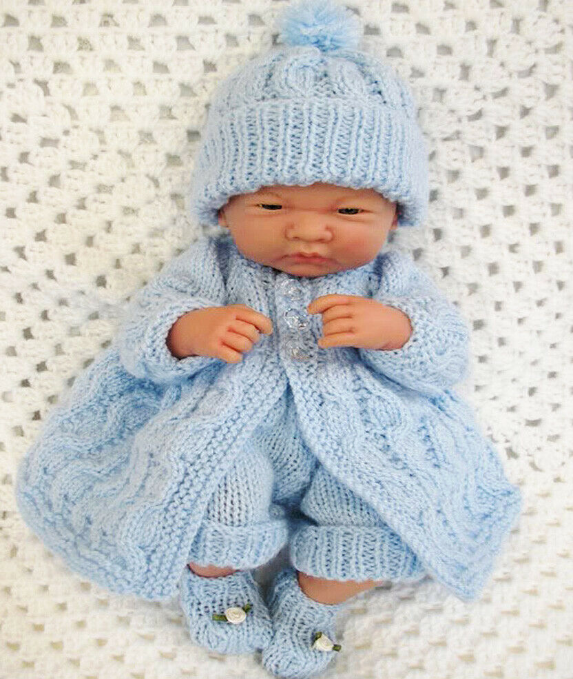 Knitting Patterns For Very Premature Babies : Creative Dolls Designs Knitting pattern Matinee Set for 10&15