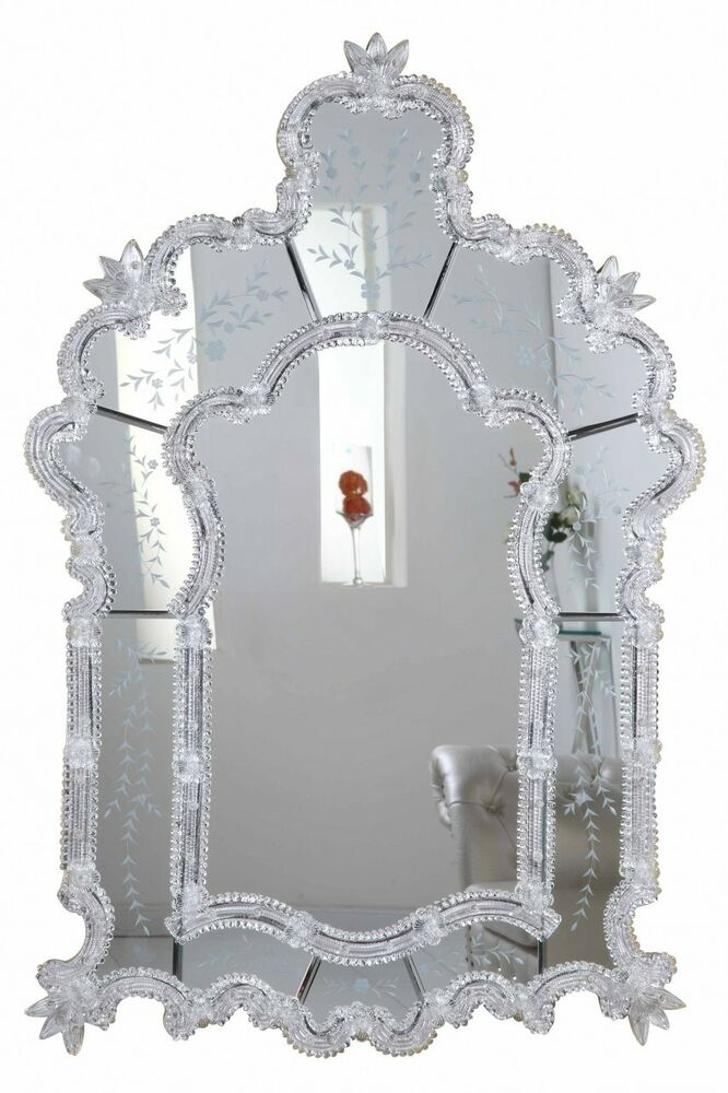 LARGE BEAUTIFUL VENETIAN STYLE MIRROR SILVER BEDROOM ...
