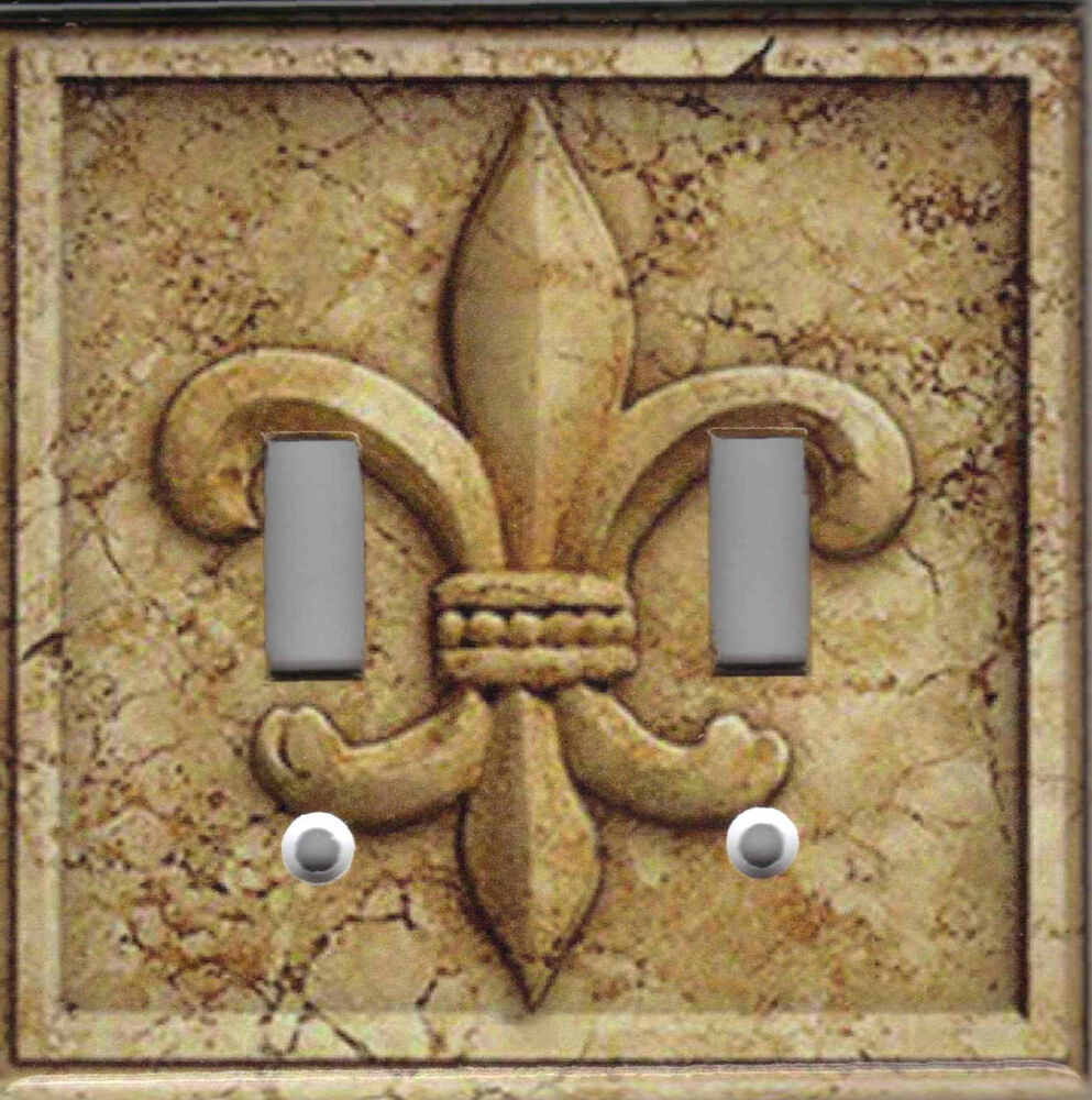 french fleur de lis stone print fleur de lis kitchen decor light switch plate ebay. Black Bedroom Furniture Sets. Home Design Ideas