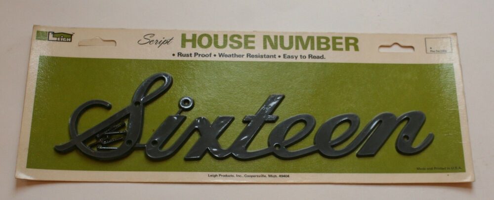 Vintage leigh script black house address number sixteen for Number 16 house