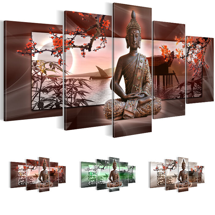 bild bilder leinwand 5032532 buddha kunstdruck 200x100 neue kollektion 5tlg ebay. Black Bedroom Furniture Sets. Home Design Ideas