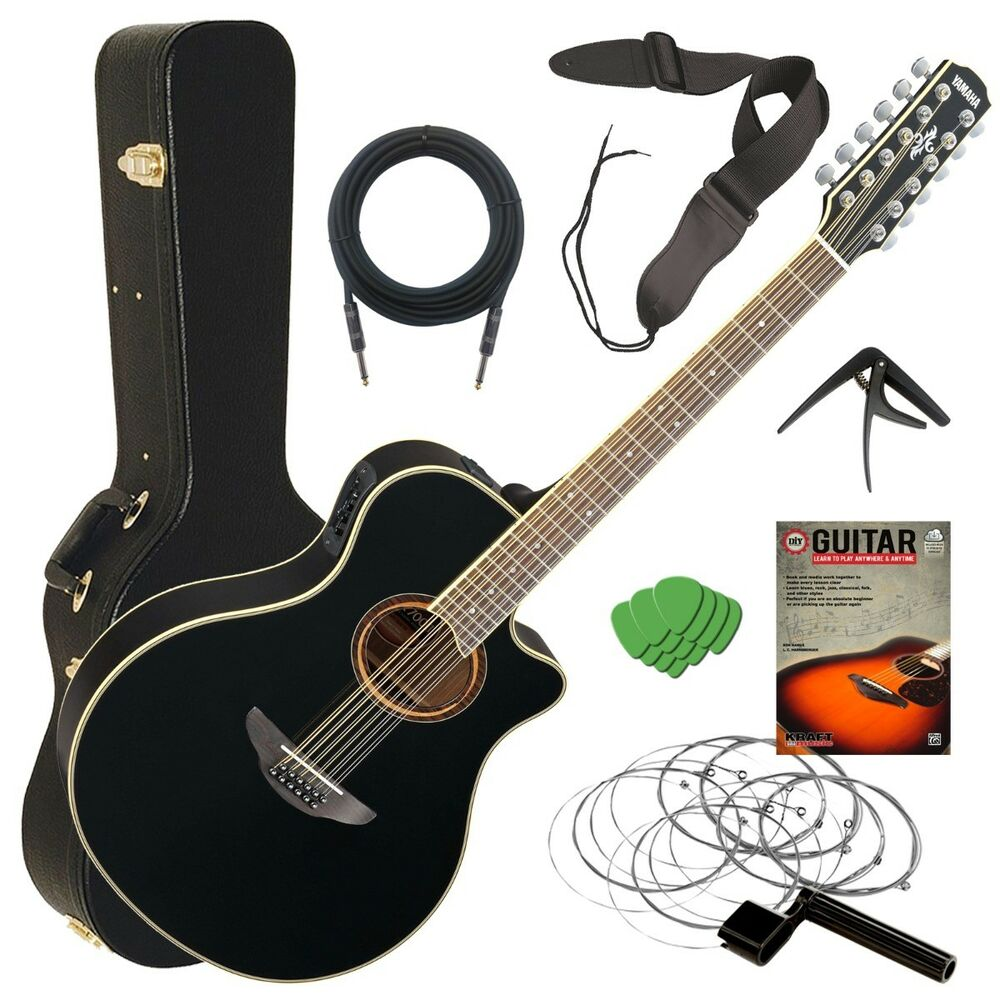 Essential Accessories For Electric Guitar : yamaha apx700ii 12 acoustic electric guitar black stage essentials bundle ebay ~ Hamham.info Haus und Dekorationen
